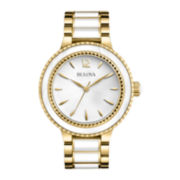 Bulova® Womens Gold-Tone and White Ion Plated Watch
