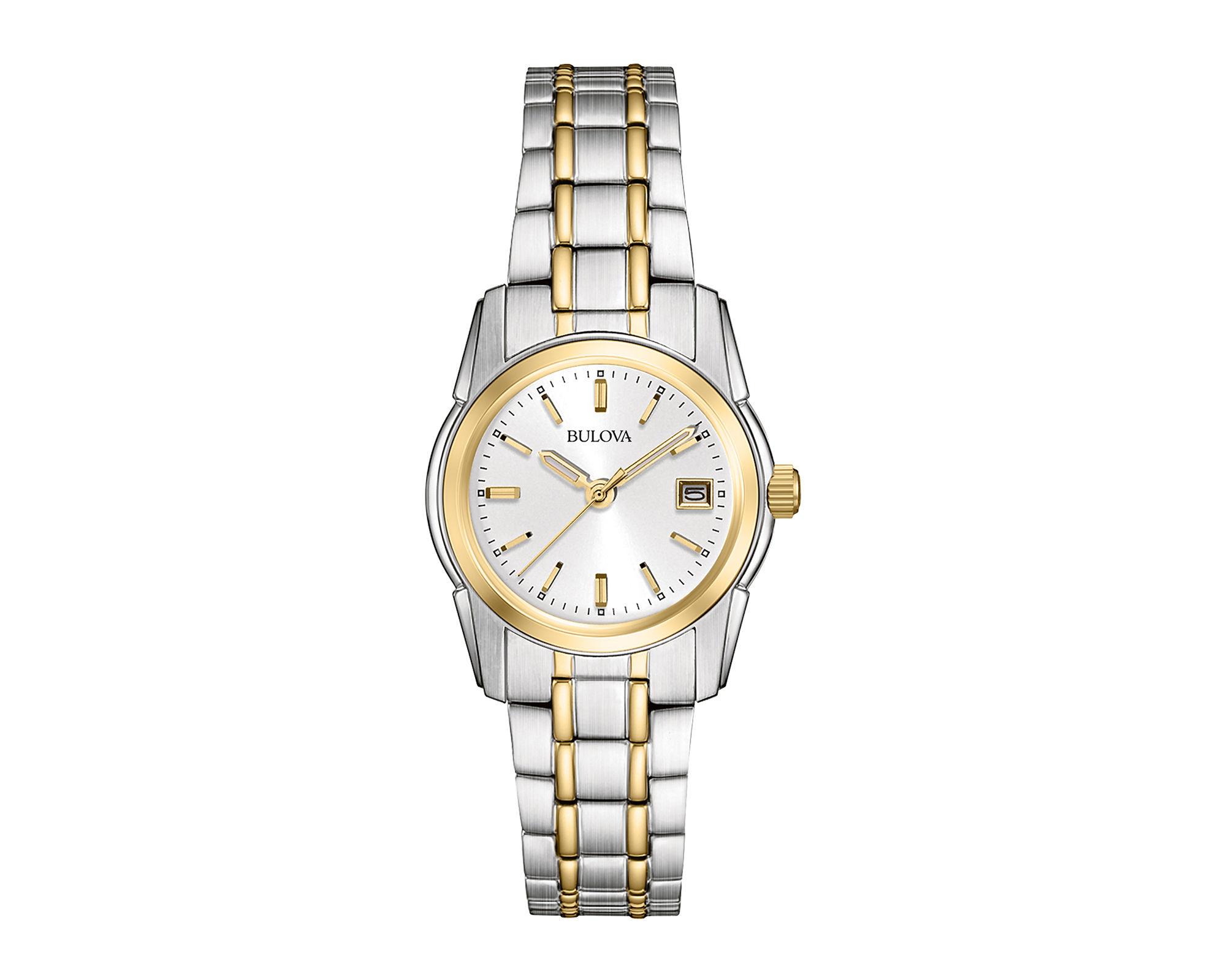 s watches bulova womens gold tone bracelet