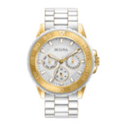 Bulova® Womens White Dial White Stainless Steel Bracelet Watch