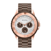 Bulova® Womens White Dial Brown Stainless Steel Bracelet Watch 98N103