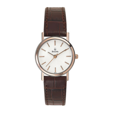 jcpenney.com | Bulova® Womens Classic Brown Leather Strap Watch 98V31