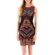 Bailey Blue Sleeveless Hourglass Aztec Print Dress