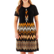 Danny & Nicole® Print Dress with Ruffled Jacket - Plus