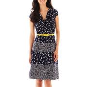 R&K Originals® Cap-Sleeve Belted Dot Print Dress - Petite