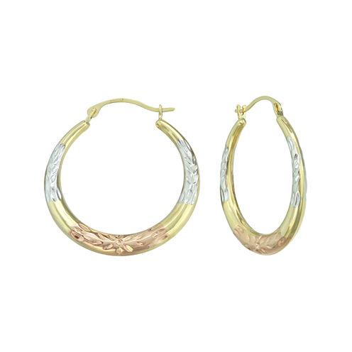 14K Tri-Tone Gold Diamond-Cut Round Hoop Earrings
