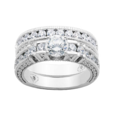 jcpenney.com | 100 Facets by DiamonArt® Cubic Zirconia Bridal Ring Set