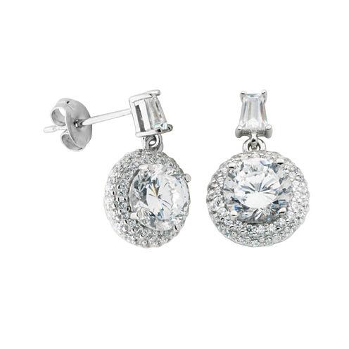 100 Facets by DiamonArt® Cubic Zirconia Pavé Drop Earrings