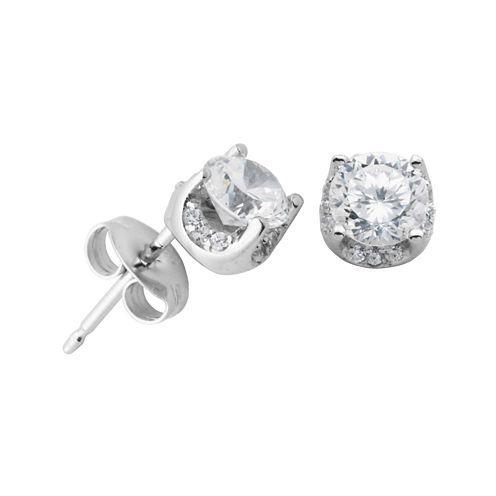 DiamonArt® Cubic Zirconia Sterling Silver 5mm Stud Earrings