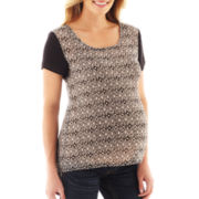 Maternity Short-Sleeve Aztec-Print Blouse