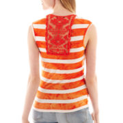 by&by® Striped Drape-Neck Cinched Top