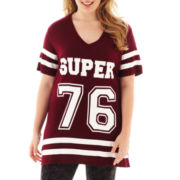 City Streets® Short-Sleeve V-Neck Football Tunic - Plus