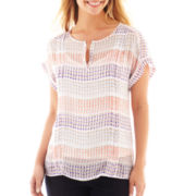 Liz Claiborne Short-Sleeve Dot Striped Blouse with Cami