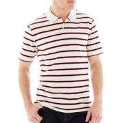 St. John's Bay® Short-Sleeve Heather-Striped Jersey Polo