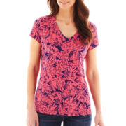 Liz Claiborne Short-Sleeve Palm Print Tee - Tall
