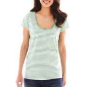 Liz Claiborne Short-Sleeve Striped Tee - Tall