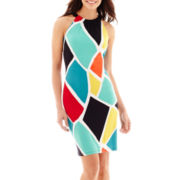 Worthington® Sleeveless Shirred-Neck Halter Dress