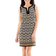 London Style Collection Sleeveless Keyhole-Neck Sheath Dress - Petite