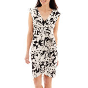 London Style Collection Cap-Sleeve Side-Ruched Wrap Dress - Petite