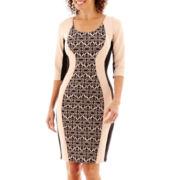 Sangria 3/4-Sleeve Colorblock Sheath Dress - Petite