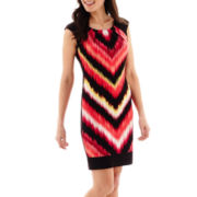 London Style Collection Cap-Sleeve Print Sheath Dress - Petite