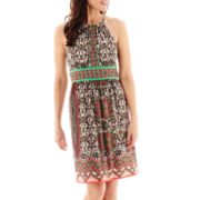 London Style Collection Sleeveless Border Print Halter Dress - Petite