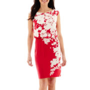London Style Collection Floral Print Blouson Dress - Petite