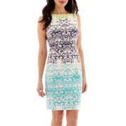 London Style Collection Sleeveless Placement Print Sheath Dress - Petite