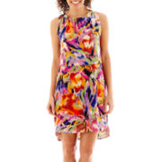 Tiana B. Sleeveless Floral Print High-Low Blouson Dress - Petite