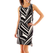 Tiana B. Sleeveless Geo Print Blouson Dress - Petite