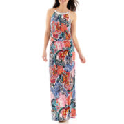 Scarlett Sleeveless Embellished-Neck Maxi Dress - Petite