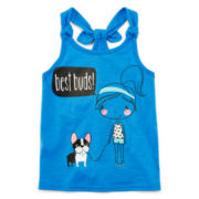 Okie Dokie® Back-Knot Graphic Tank Top - Toddler Girls 2t-5t
