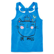 Okie Dokie® Back-Knot Graphic Tank Top - Preschool Girls 4-6x