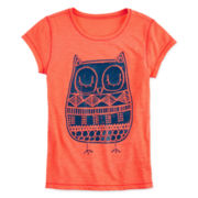 Arizona Puff-Print Owl Tee - Girls 7-16 and Plus