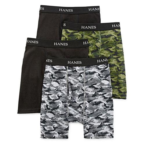 Hanes® Ultimate 4-pk. ComfortFlex® Printed Boxer Briefs - Boys