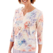 Alfred Dunner® Sunrise Point Short-Sleeve Parrot Print Top - Petite