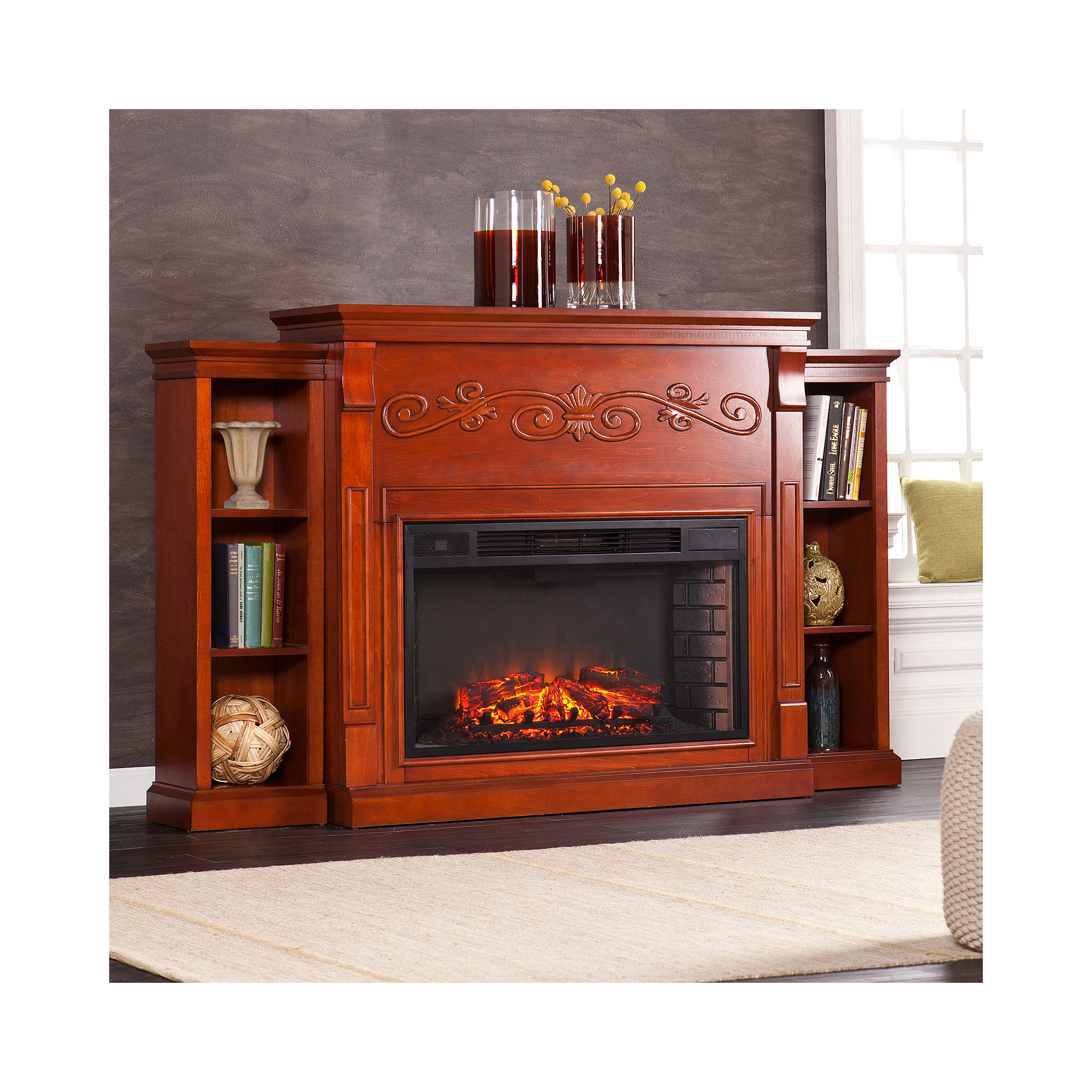 classic flame 23 electric fireplace with portland bookcase mantel 23ef004gra 23wm137poa. Black Bedroom Furniture Sets. Home Design Ideas