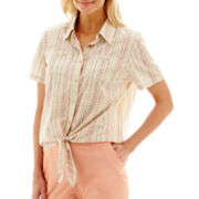 Alfred Dunner® Key Largo Short-Sleeve Burnout-Stripe Tie-Waist Top