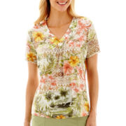 Alfred Dunner® Key Largo Short-Sleeve Floral-Beaded Top