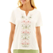 Alfred Dunner® Key Largo Floral-Embroidered Top