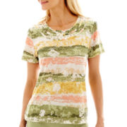 Alfred Dunner® Key Largo Short-Sleeve Abstract Stripe Floral Top
