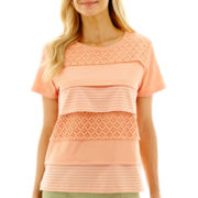 Alfred Dunner® Key Largo Short-Sleeve Tiered Lace-Texture Top