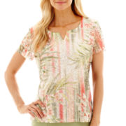 Alfred Dunner® Key Largo Lace Tropical Vertical-Stripe Top