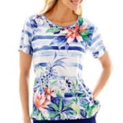 Alfred Dunner® Catalina Island Short-Sleeve Floral Stripe Top