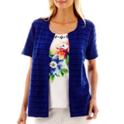 Alfred Dunner® Catalina Island Short-Sleeve Textured Layered Top