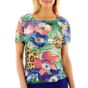 Alfred Dunner® Catalina Island Short-Sleeve Tropical Ruffle Top