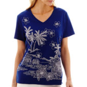 Alfred Dunner® Catalina Island Embroidered Scenic Print Top