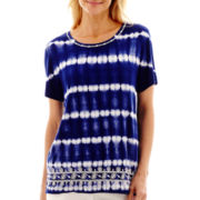 Alfred Dunner® Catalina Island Tie-Dye Biadere Top