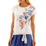 Alfred Dunner® Paradise Island Floral Lace Tie-Waist Top