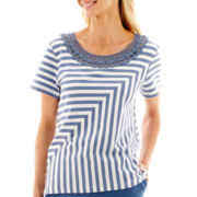 Alfred Dunner® Paradise Island Spliced-Stripe Lace-Neck Top