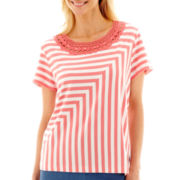 Alfred Dunner® Paradise Island Short-Sleeve Spliced-Stripe Lace-Neck Top